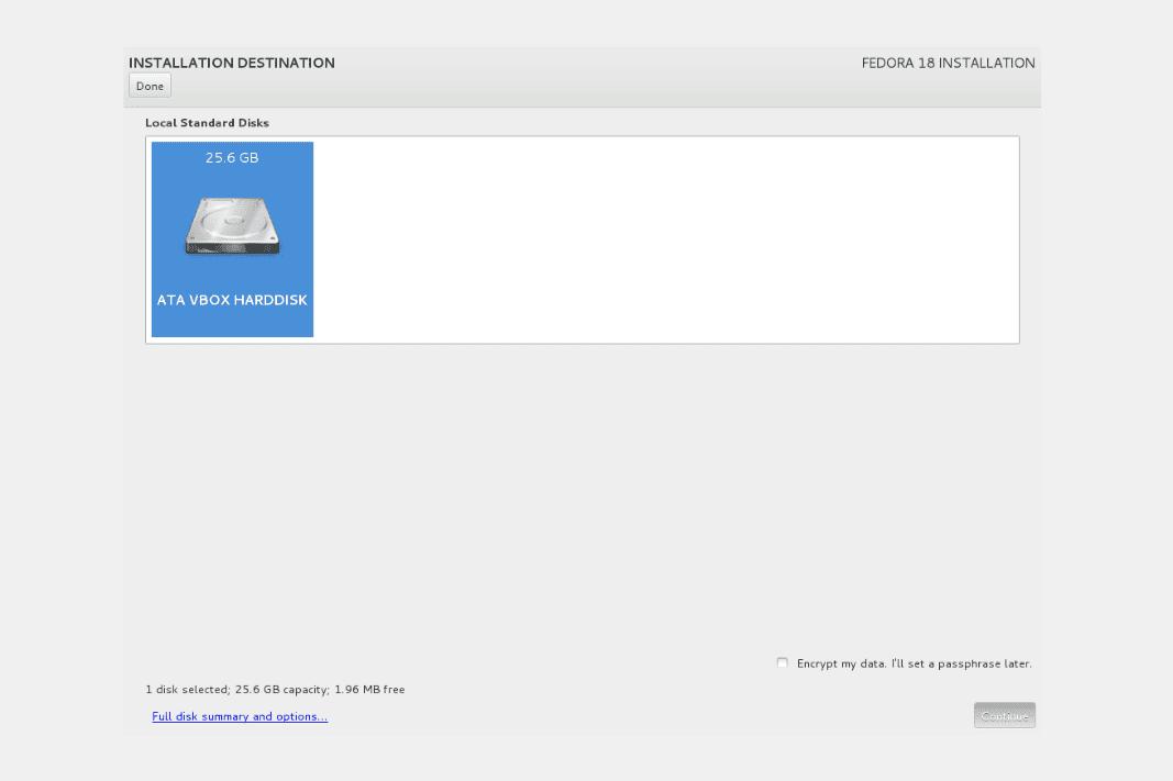 Fedora 18 installation - Installation Destination