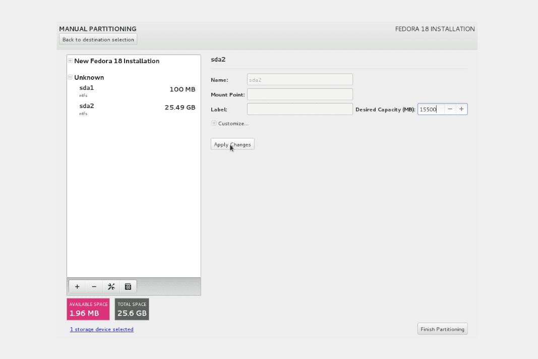 Fedora 18 installation -  NTFS resize